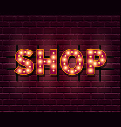 shop light banner template with lightbulb glowing vector image