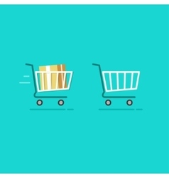 Shopping cart full and empty icons vector image