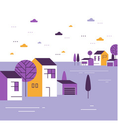 Small town tiny village view group houses vector