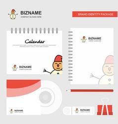 snowman logo calendar template cd cover diary and vector image