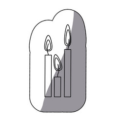 Sticker silhouette candles set icon vector