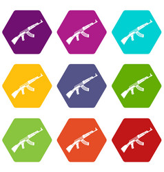 submachine gun icon set color hexahedron vector image