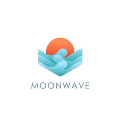 sun moon and wave logo beach sea travel vector image