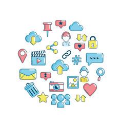 technology social media global connection vector image