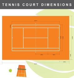 Tennis court with dimensions vector