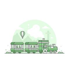 Train in amusement park - thin line design style vector