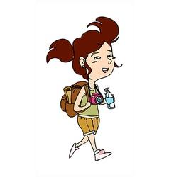 Traveller woman walking vector