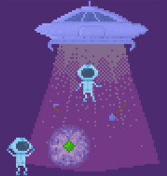 Ufo on spaceship space pixel game design layout vector