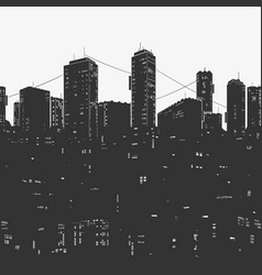 urban city panorama and skyscrapers vector image