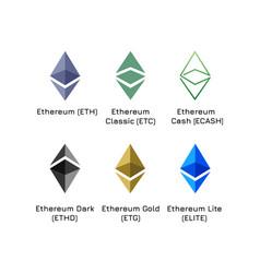 varieties logos cryptocurrency ethereum vector image