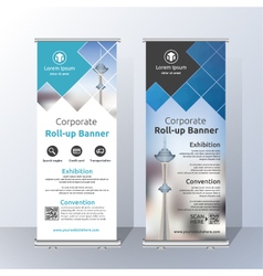 Vertical roll up banner template design vector