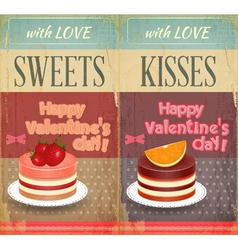 Vintage Retro two Cards to the Valentines Day vector image