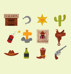 Vintage western cowboys signs american vector