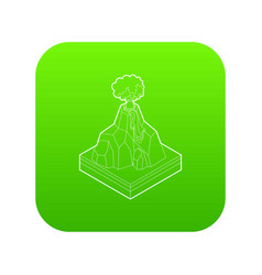 volcano erupting icon green vector image