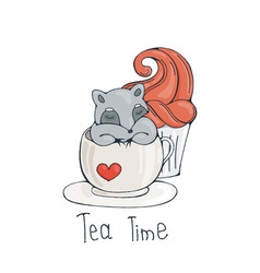 With cute raccoon in a cup of tea or coffee with vector