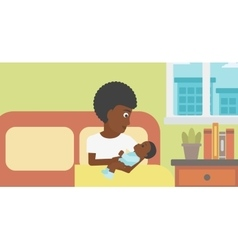 Woman with new born in maternity ward vector