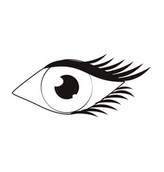 women eye cartoon in black and white vector image