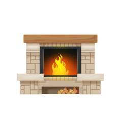 Wood burning fireplace or hearth isolated icon vector