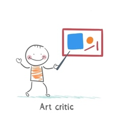 Art critic tells about the picture vector