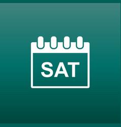 saturday calendar page pictogram icon simple flat vector image vector image