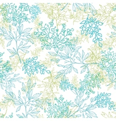 Scattered blue green branches seamless pattern vector image