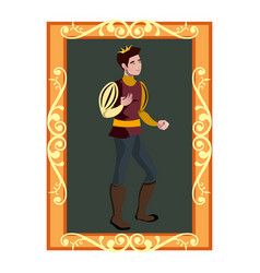 the portrait of prince charming in golden frame vector image vector image