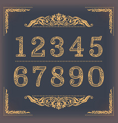 Vintage stylized numbers with floral elements vector