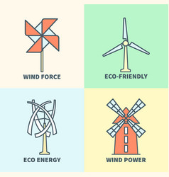 windmill linear logo set eco friendly wind force vector image