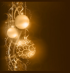 Dark golden Christmas balls with wavy star vector image