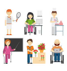 disability young workers isolated on white vector image