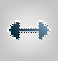 dumbbell weights sign blue icon with vector image vector image