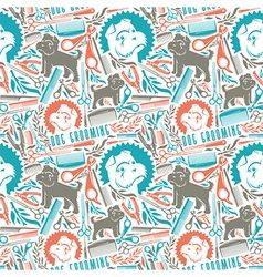 Seamless pattern dog grooming vector image