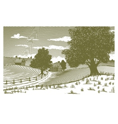 Woodcut Rural Scene vector image vector image