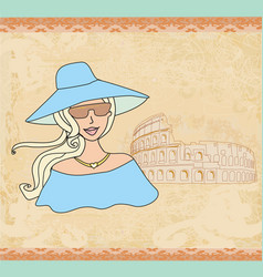 beautiful tourist in rome vector image vector image