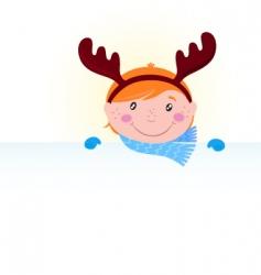 Christmas kid reindeer costume vector image vector image