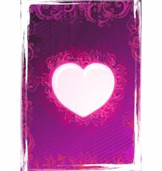 floral pink heart frame vector image vector image