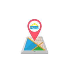 Hotel map pointer flat icon mobile gps vector