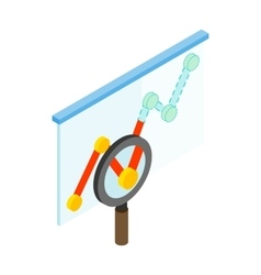 Magnifyier and graph icon isometric 3d style vector image