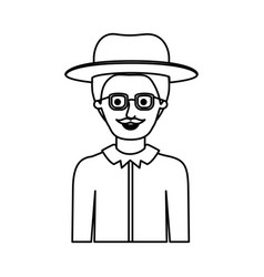 man half body with hat and glasses and shirt with vector image