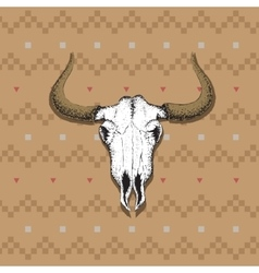 Skull of bull on old indian cloth vector image vector image
