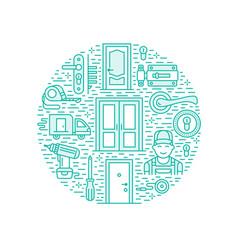 doors installation repair banner vector image vector image