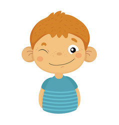 naughty winking cute small boy with big ears in vector image