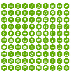 100 audience icons hexagon green vector