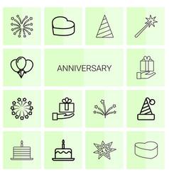 14 anniversary icons vector