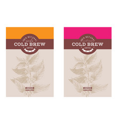 2 cold brew coffee labels with hand drawn coffee vector image