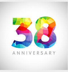 38 anniversary colorful facet logo vector