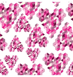 abstract seamless background with geometric hearts vector image