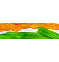 acrylic brush stroke tricolor banner with indian vector image