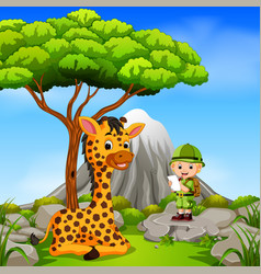 adventurer and giraffe posing with mountain scene vector image