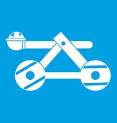 Ancient wooden catapult icon white vector